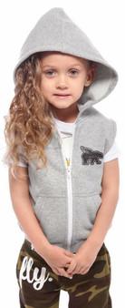 Toddler No-Sleeve Zip-Up Hoodie Grey