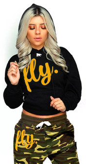 LOVE MYSELF CLOTHES FLY Lifestyle Comfort Hoodie Black w/ Gold/White Print UNISEX FIT