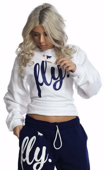 LOVE MYSELF CLOTHES FLY Comfort Crewneck Outfit White/Navy UNISEX FIT