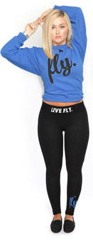 LOVE MYSELF CLOTHES Live Fly Legging and Crew Outfit Royal/Black