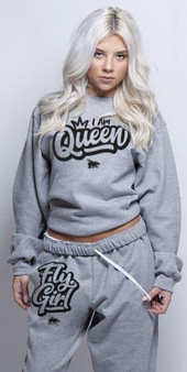 LOVE MYSELF CLOTHES I AM QUEEN FLY GIRL CREW COMBO SPORTS GREY