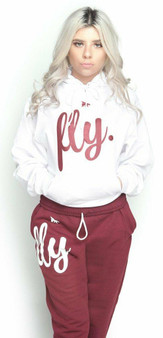 LOVE MYSELF CLOTHES FLY Comfort Outfit White/Maroon UNISEX FIT