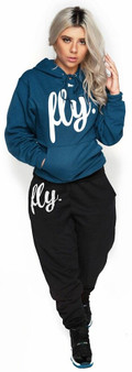 LOVE MYSELF CLOTHES NEW FIRST LOVE YOURSELF FLY COMFY HOODIE OUTFIT DEEP TEAL/BLACK