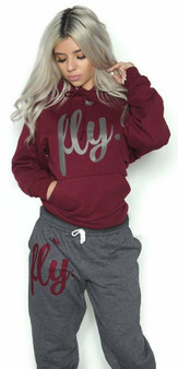 LOVE MYSELF CLOTHES Fly Comfy Hoodie Outfit Maroon/Dark Grey