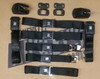 1968-72 GM Style Front Shoulder & Retractable & Rear Lap Seat Belts w/ Plastic Buckle Cover,(Set of 5) (Bucket or Bench)