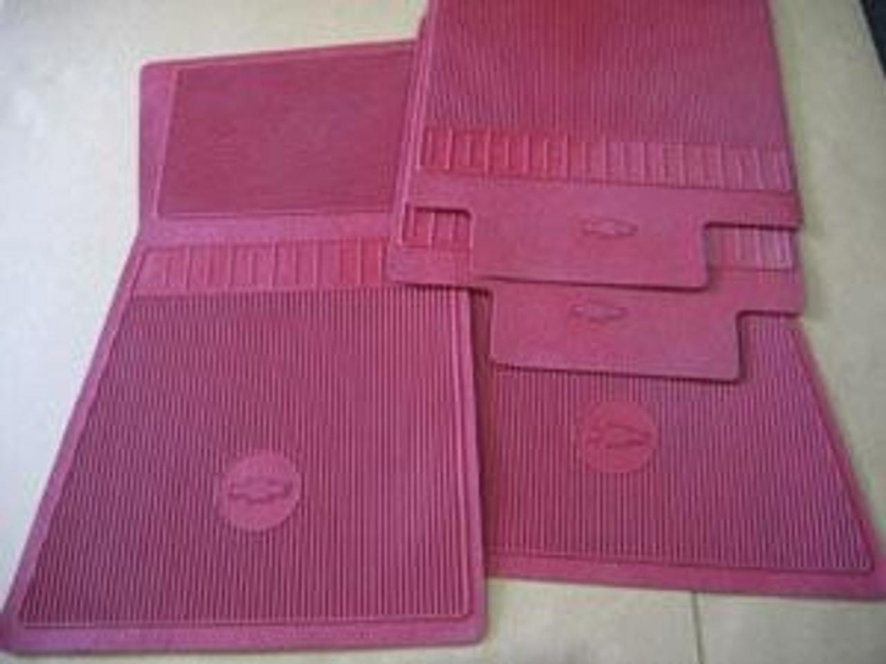 1964-72 Chevelle Rubber Bowtie Floor Mats (Red)