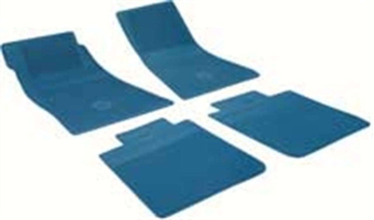 1964-72 Chevelle Rubber Bowtie Floor Mats (Med. Blue)