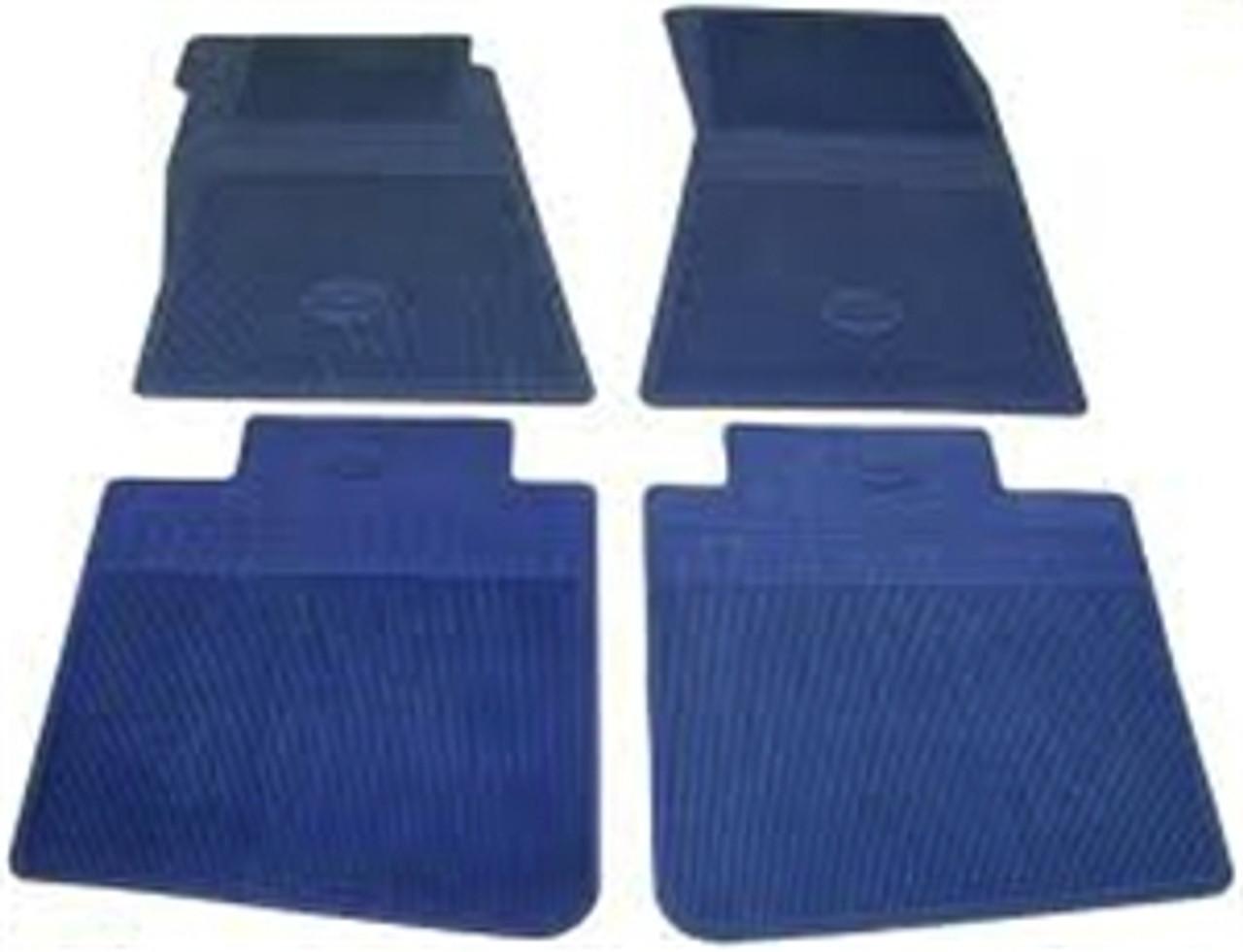 1964-72 Chevelle Rubber Bowtie Floor Mats (Dk. Blue)