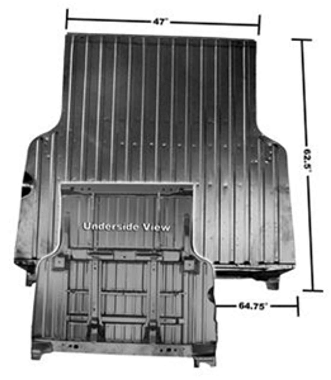 1968-72 El Camino Complete Bed Floor w/Braces & Roll Pan