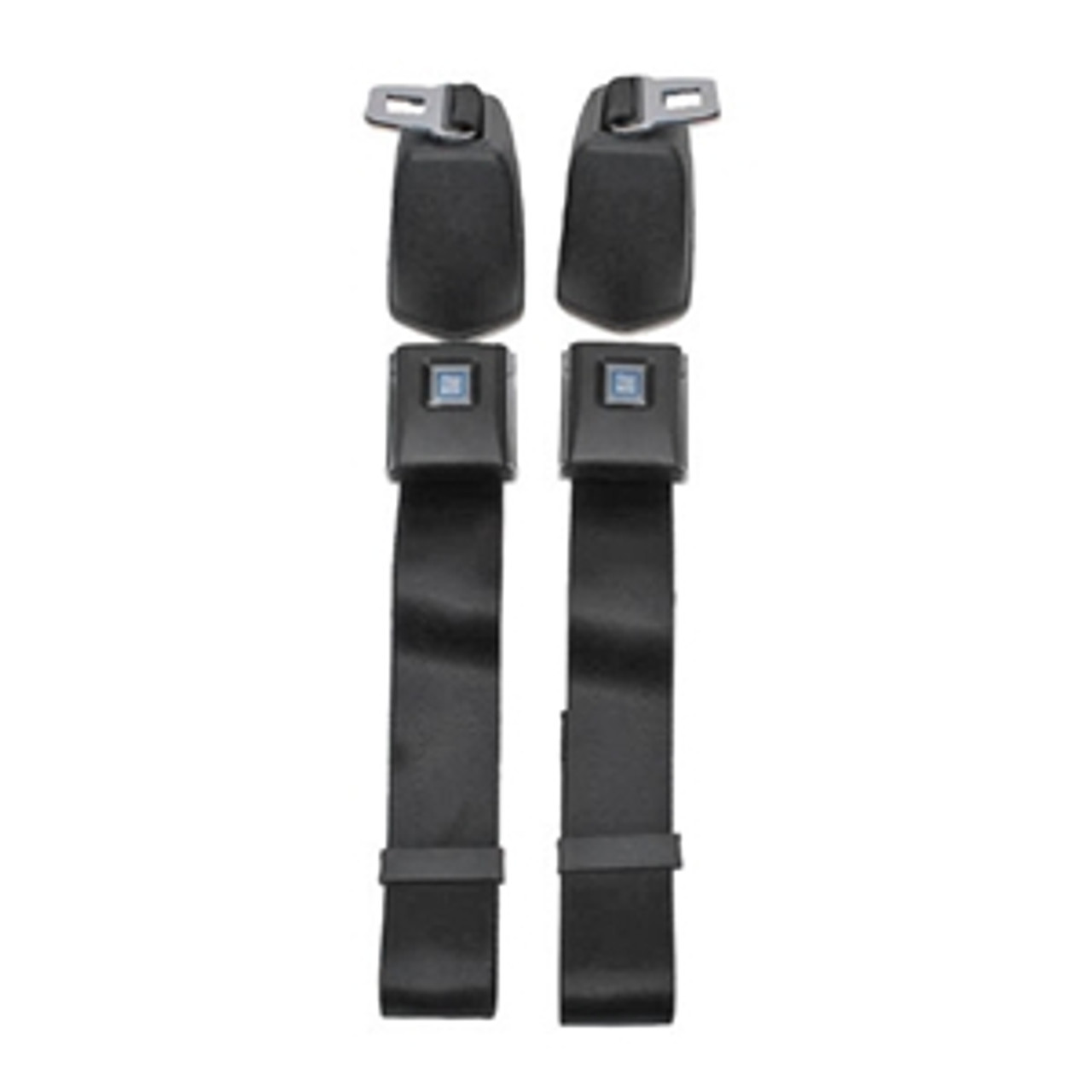 1966-72 Chevelle, El Camino GM Style Front Retractable Lap Seat Belts w/ Plastic Buckle Cover, Pair