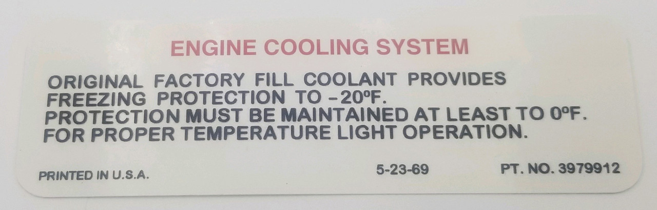 1970-72 Cooling Decal (ea)