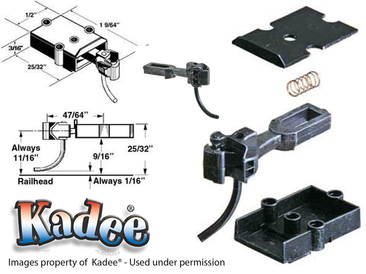 740 Kadee® O Scale Medium Centerset Shank Metal Coupler & Box 2 or 3 rail