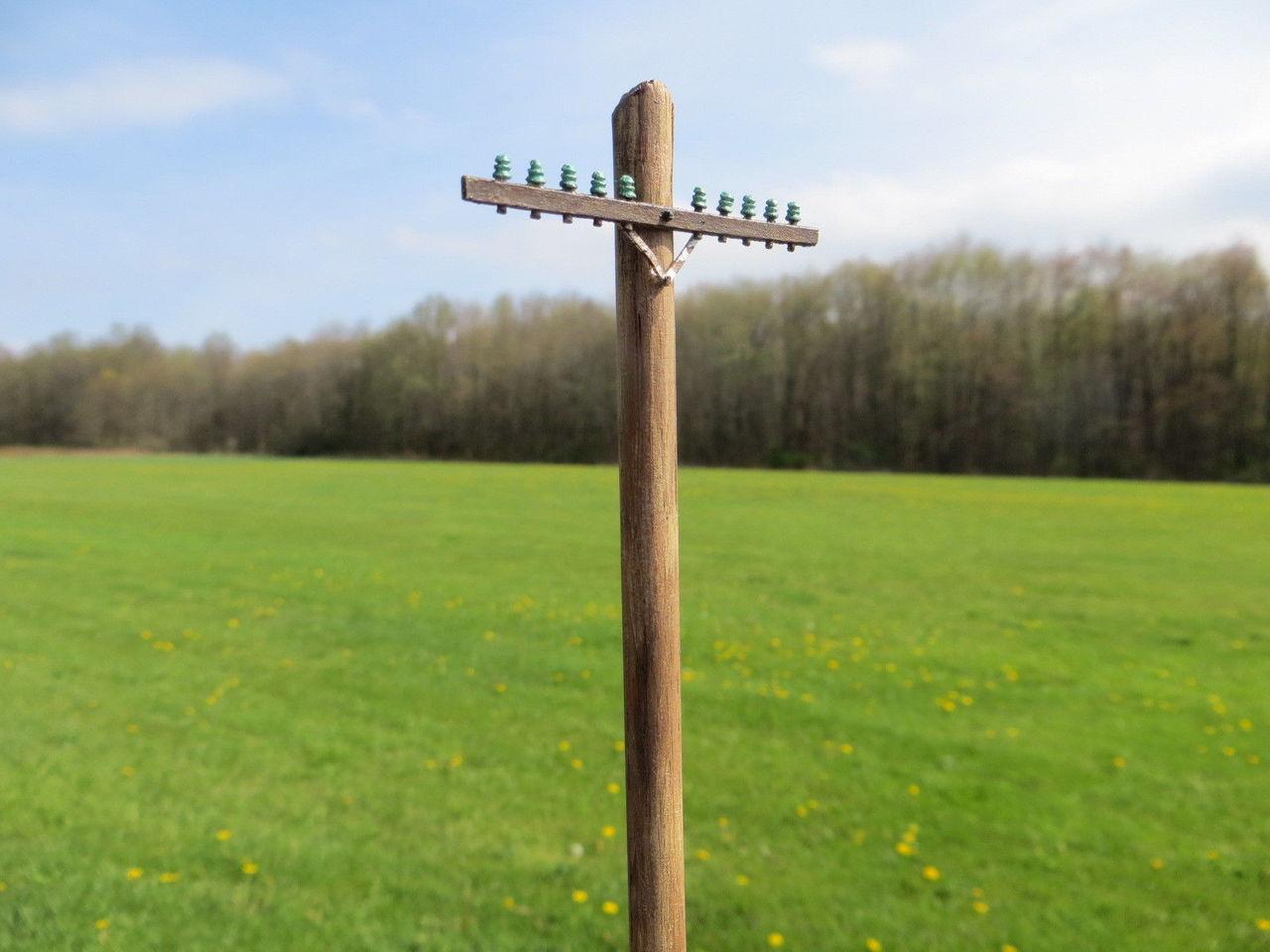 48-1181 Utility Pole Single Crossarm Basic Kit Electric Telephone O Scale QTY 6 FKA KEIL LINE