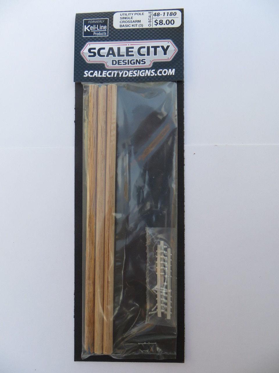 48-1180 Utility Pole Single Crossarm Basic Kit Electric Telephone O Scale QTY 3 FKA KEIL LINE