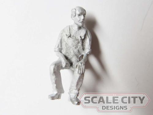 48-1268 Bald Man Sitting in Coveralls Figure O Scale FKA Keil Line