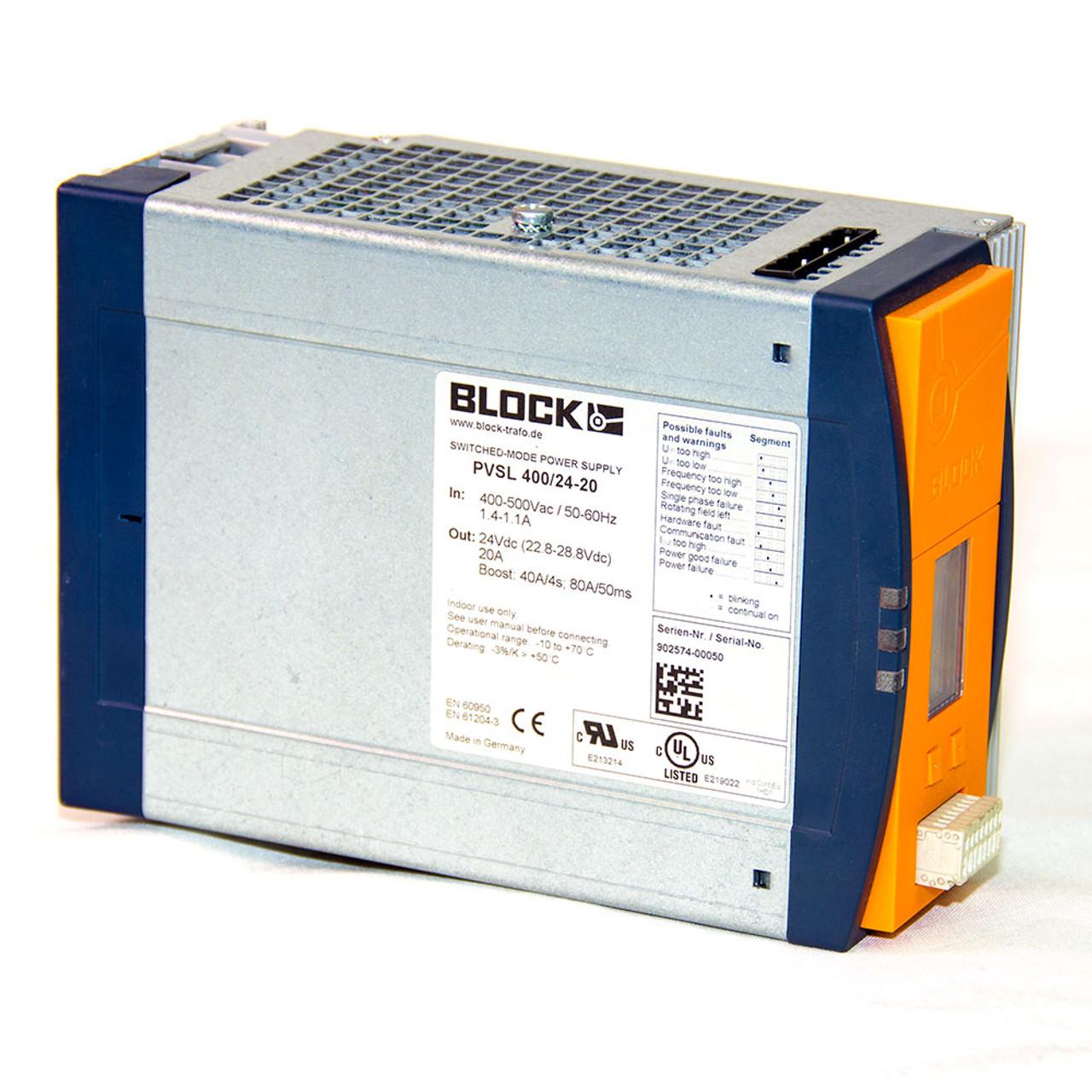 Block PVSL 400/24-20 Basic Switched Mode DIN Rail Mount Power Supply