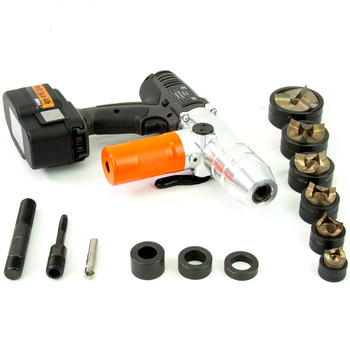 "ALFRA 02075.120TT AKKU Compact Cordless Punch Kit w/TriCut Plus 1/2"" - 2"" Conduit punch/die sets"