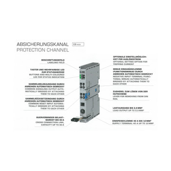 Block EB-2724-020-0 Single-Channel Electronic Circuit Breaker, 24 VDC, 2 A