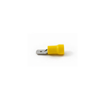 Yellow PVC Insulated Male Tab Disconnects, 12-10 AWG, 6.3 mm Wide, 0.8 mm Thick, Pack of 100 Pieces (YM63/VR)