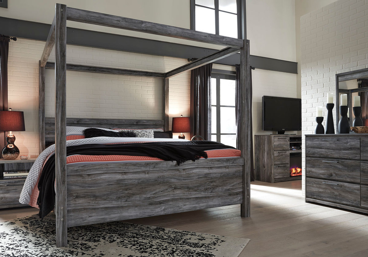 The Baystorm Gray Queen Canopy Bed Available At Direct Value Furniture Serving Roscoe Il