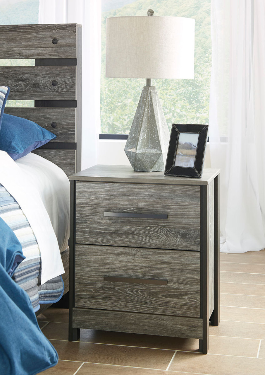 The Cazenfeld Black Gray Two Drawer Night Stand Available At Direct Value Furniture Serving Roscoe Il
