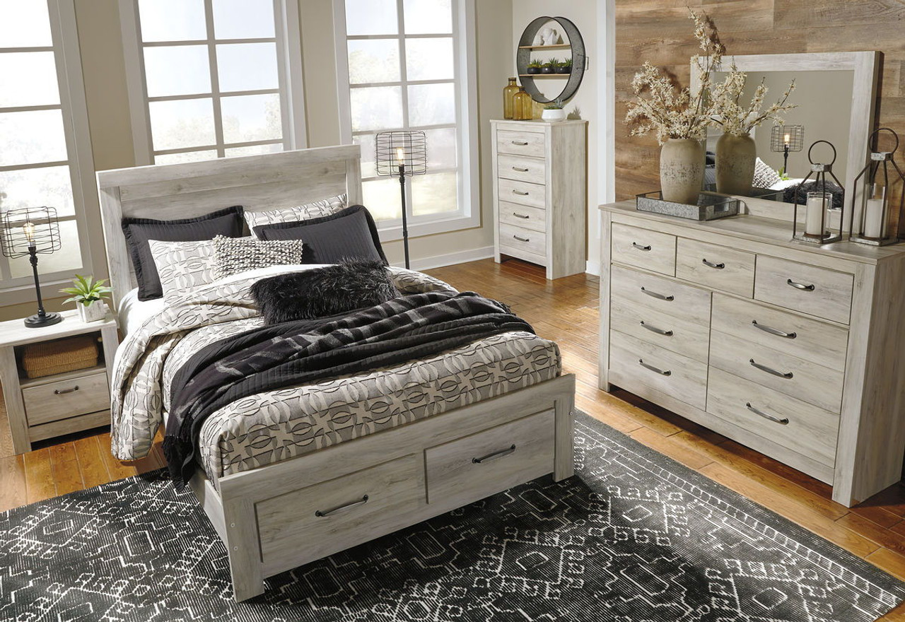 Picture of: The Bellaby Whitewash Queen Panel Storage Bed Available At Direct Value Furniture Serving Roscoe Il