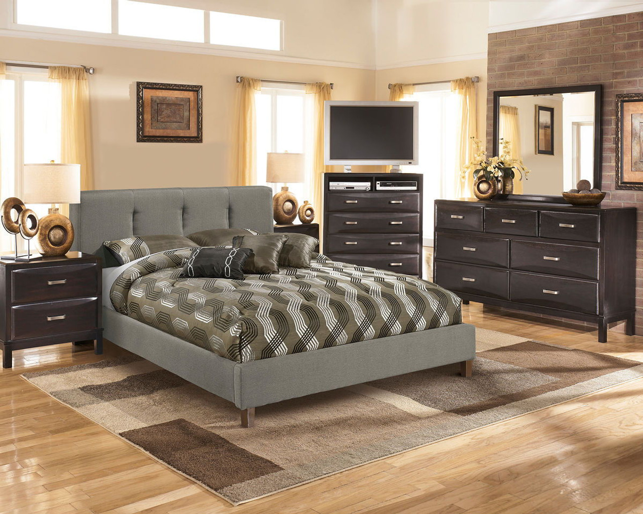 The Kira Almost Black 4 Pc Dresser Mirror Masterton Queen Uph Bed Available At Direct Value Furniture Serving Roscoe Il And Surrounding Areas