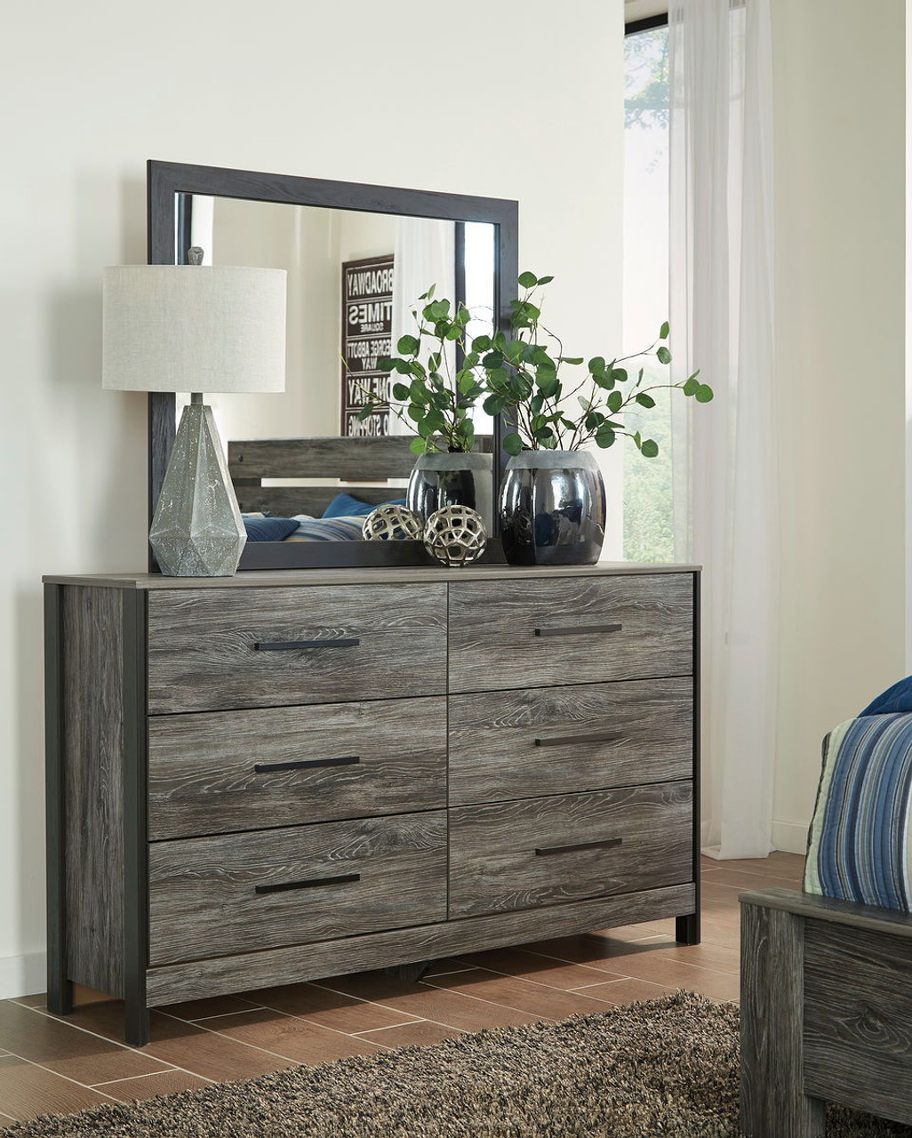 The Cazenfeld Black Gray 6 Pc Dresser Mirror Chest King Panel Headboard Bed 2 Nightstands Available At Direct Value Furniture Serving Roscoe Il