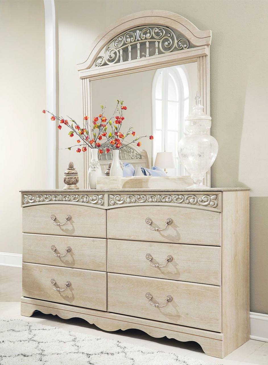 The Catalina Antique White 8 Pc Dresser Mirror Chest Queen Poster Bed 2 Nightstands Available At Direct Value Furniture Serving Roscoe Il