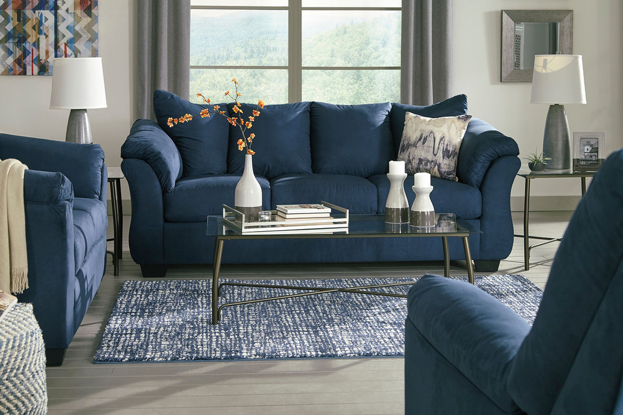Picture of: The Darcy Blue Sofa Loveseat Burmesque Table Set Available At Direct Value Furniture Serving Roscoe Il