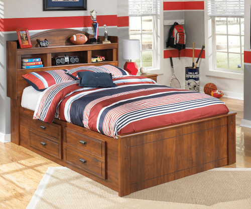 Barchan Medium Brown Full Bookcase Bed with Under Bed Storage