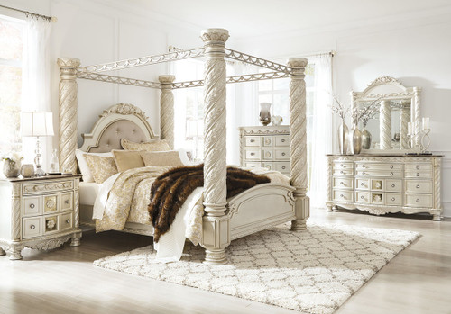 Cassimore Pearl Silver 10 Pc.California King Poster Canopy Bedroom Collection