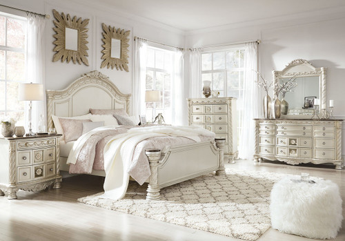 Cassimore Pearl Silver 5 Pc.King Panel Bedroom Collection