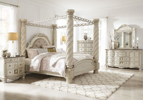 Cassimore Pearl Silver 7 Pc.California King Poster Canopy Bedroom Collection