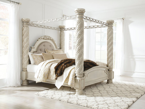 Cassimore Pearl Silver King Upholstered Poster Canopy Bed