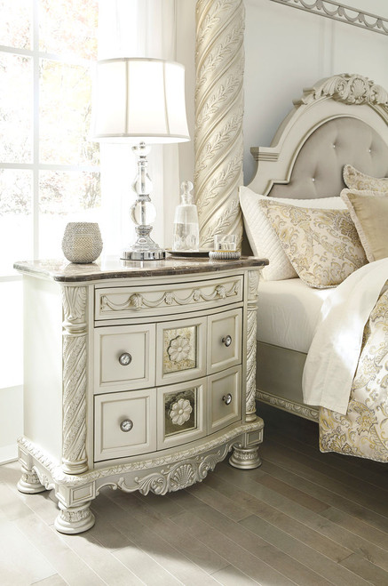 Cassimore Pearl Silver/Dark Brown Three Drawer Night Stand