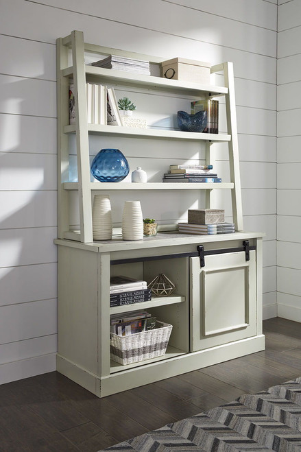 Jonileene White/Gray Home Office Cabinet with Desk Hutch