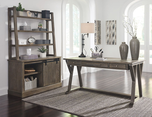 Luxenford Grayish Brown Large Leg Desk & Credenza with Hutch