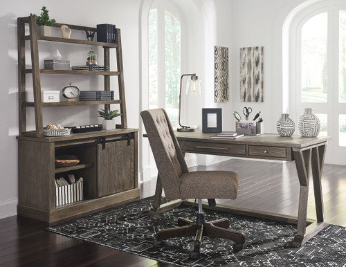 Luxenford Grayish Brown Large Leg Desk, Swivel Desk Chair & Credenza with Hutch
