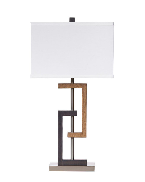 SYLER Brown/Silver Finish Poly Table Lamp (2/CN)