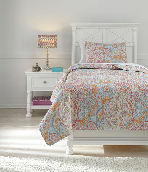 Jessamine Pink/Orange Twin Coverlet Set