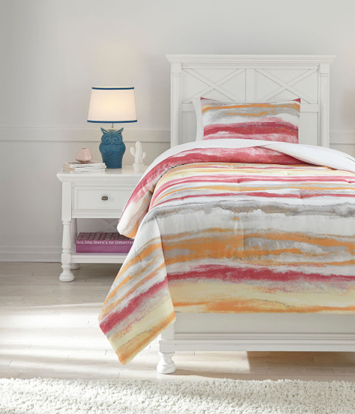 Tammy Pink/Orange Twin Comforter Set