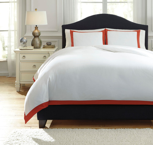 Ransik Pike Coral Queen Duvet Cover Set