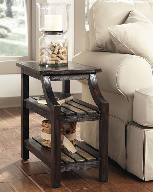 Mestler Rustic Brown Chair Side End Table