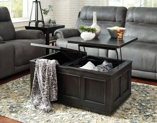 Gavelston Rubbed Black Lift Top Cocktail Table