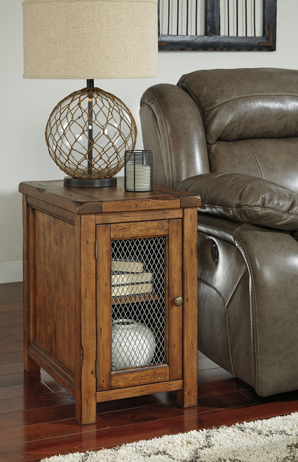 Tamonie Medium Brown Chair Side End Table with Cabinet