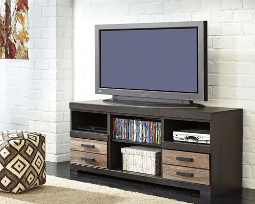 Harlinton Warm Gray Large TV Stand with Fireplace Option
