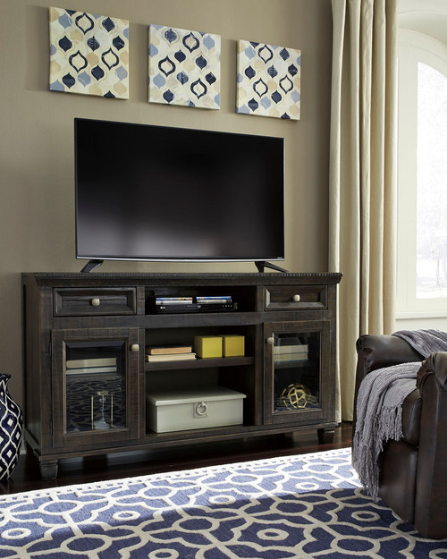 Townser Grayish Brown Large TV Stand with Fireplace/Audio Option