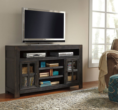 Gavelston Black Large TV Stand with Fireplace Option