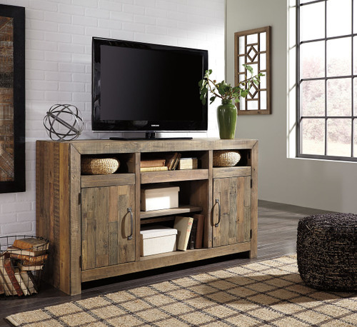 Sommerford Brown Large TV Stand with Fireplace Option